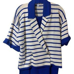ST JOHN Blazer skirt set sailor blue and white